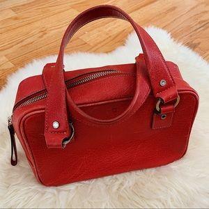 Kate Spade Red Orange Square Leather Handbag
